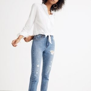 Madewell White Tie Front Shirt